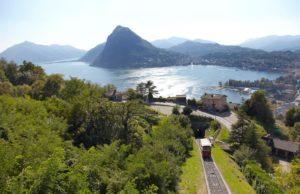 Лугано. Швейцария. Вид на горы и озеро.